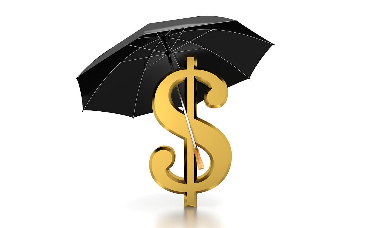 cifrão com guarda-chuva, chegou atrasado porque estava chovendo, mas pode pagar em qualquer banco.